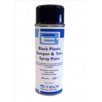 E-Teck Professional Black Bumper, Plastic, Trim Spray Paint 400ml. Aerosol